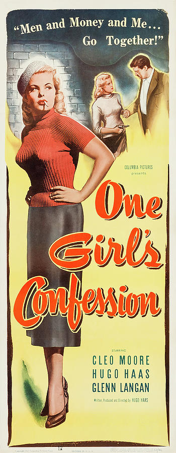 Movie Poster For one Girls Confession, 1953 Mixed Media