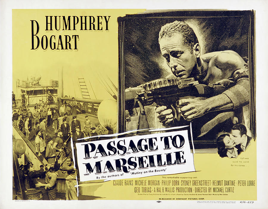 Movie Poster For passage To Marseille, With Humphrey Bogart, 1944 Mixed Media