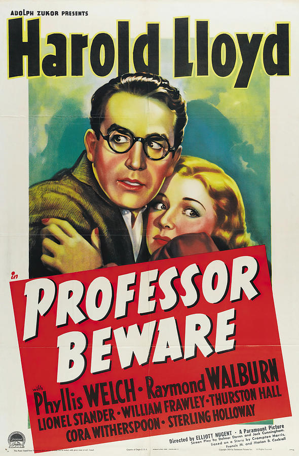 Movie Poster For professor Beware, With Harold Lloyd, 1938 Mixed Media