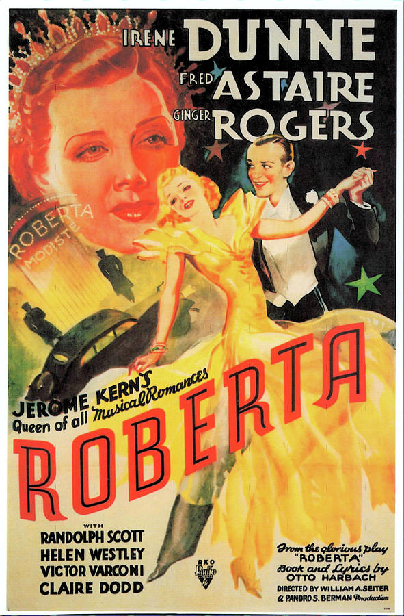 Movie Poster For roberta, With Fred Astaire And Ginger Rogers, 1935 Mixed Media