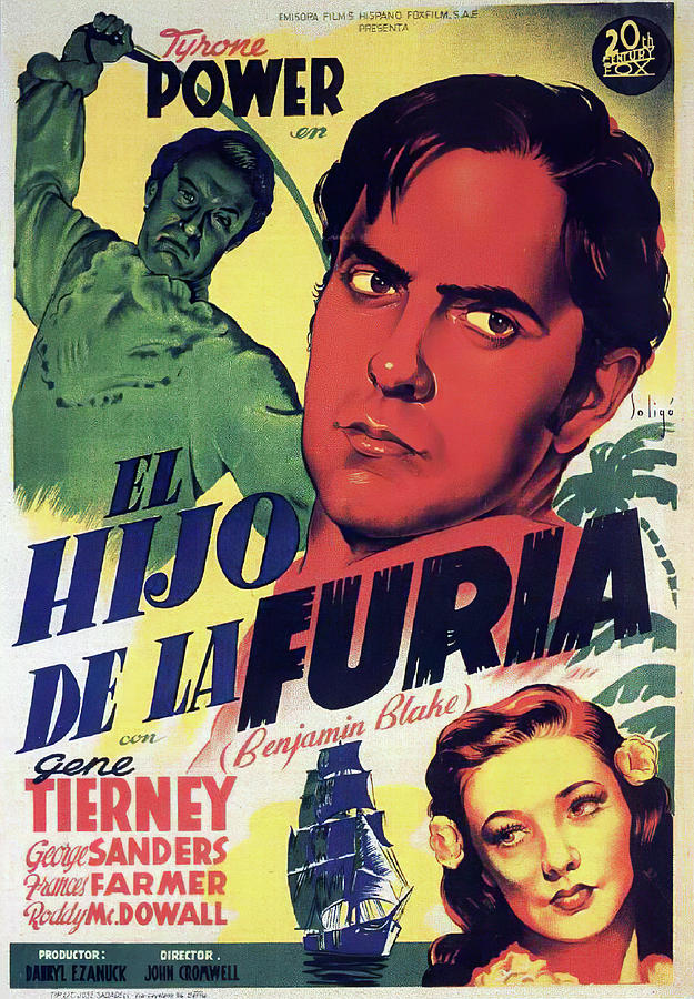 Movie Poster For son Of Fury, With Tyrone Power And Gene Tierney, 1942 Mixed Media