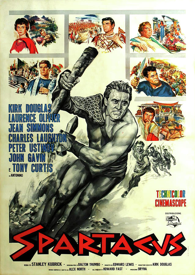 Movie Poster For spartacus, With Kirk Douglas, 1960 Mixed Media