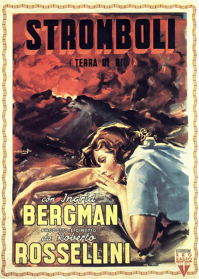 Movie Poster For stromboli, With Ingrid Bergman, 1950 Mixed Media