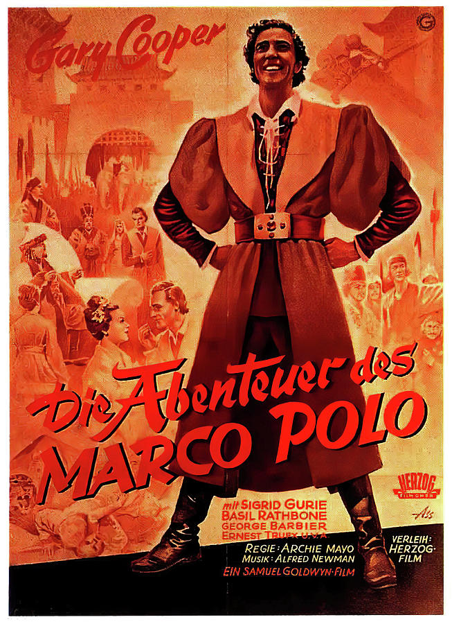 Movie Poster For the Adventures Of Marco Polo, With Gary Cooper, 1938 Mixed Media