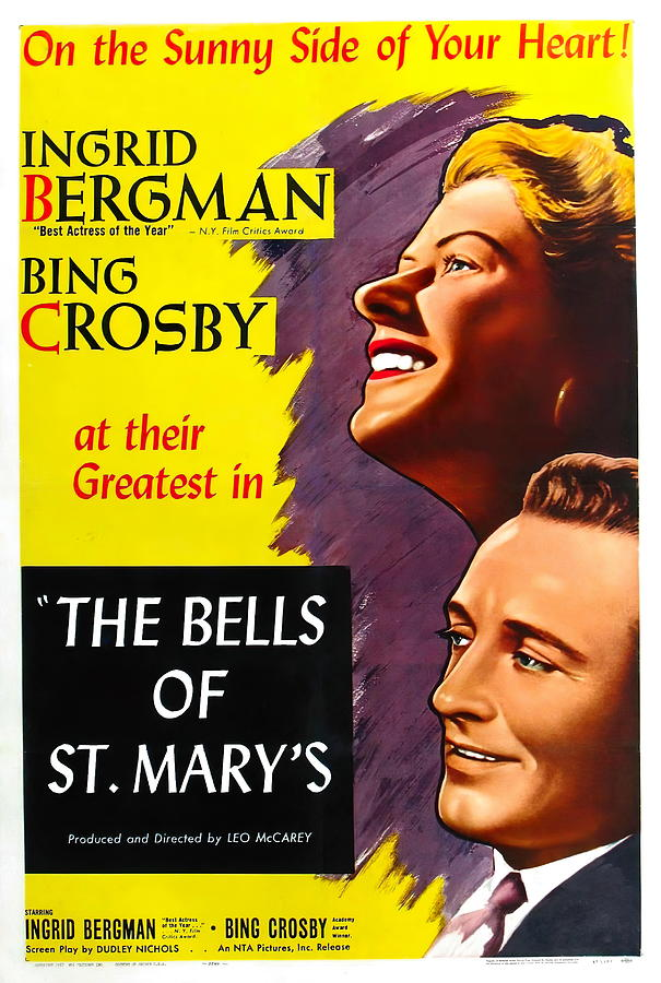 Movie Poster For the Bells Of St. Marys With Ingrid Bergman, 1945 Mixed Media