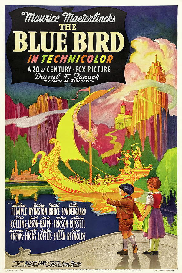Movie Poster For the Blue Bird, With Shirley Temple, 1940 Mixed Media