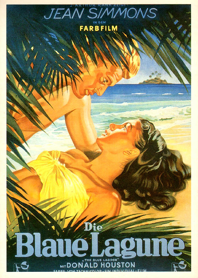 Movie Poster For the Blue Lagoon,  With Jean Simmons,1949 Mixed Media