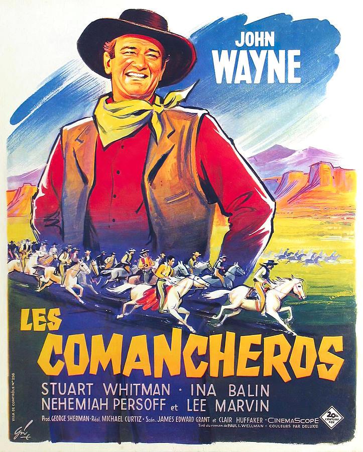 Movie Poster For the Comancheros, 2 With John Wayne, 1961 Mixed Media