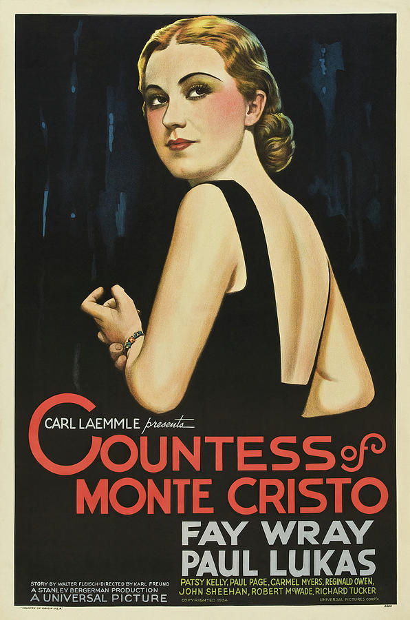 Movie Poster For the Countess Of Monte Cristo, 1934 Mixed Media