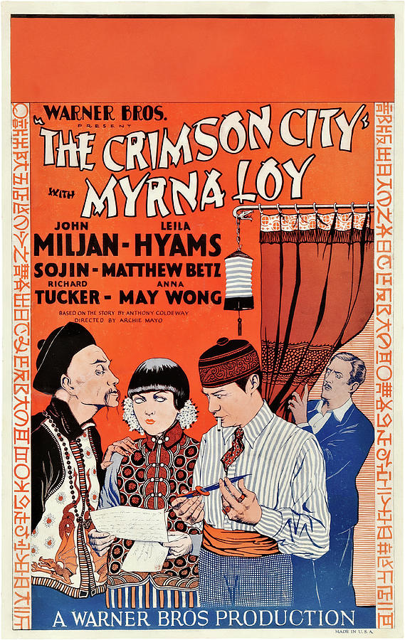Movie Poster For the Crimson City, With Myrna Loy, 1928 Mixed Media