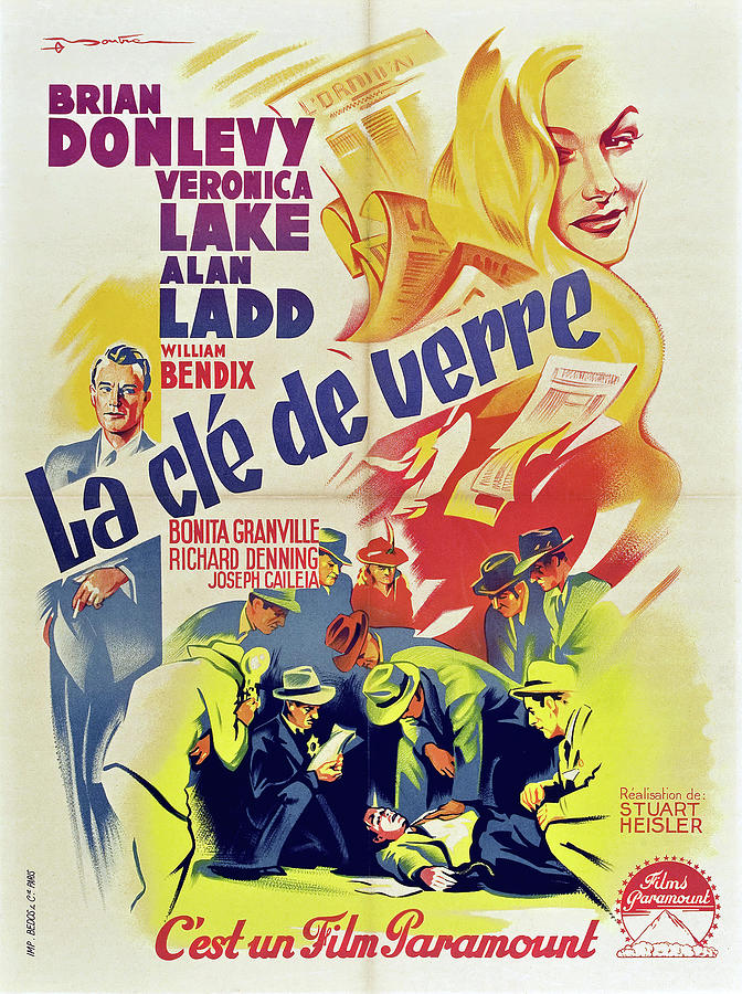 Movie Poster For the Glass Key, With Veronica Lake And Alan Ladd, 1942 Mixed Media