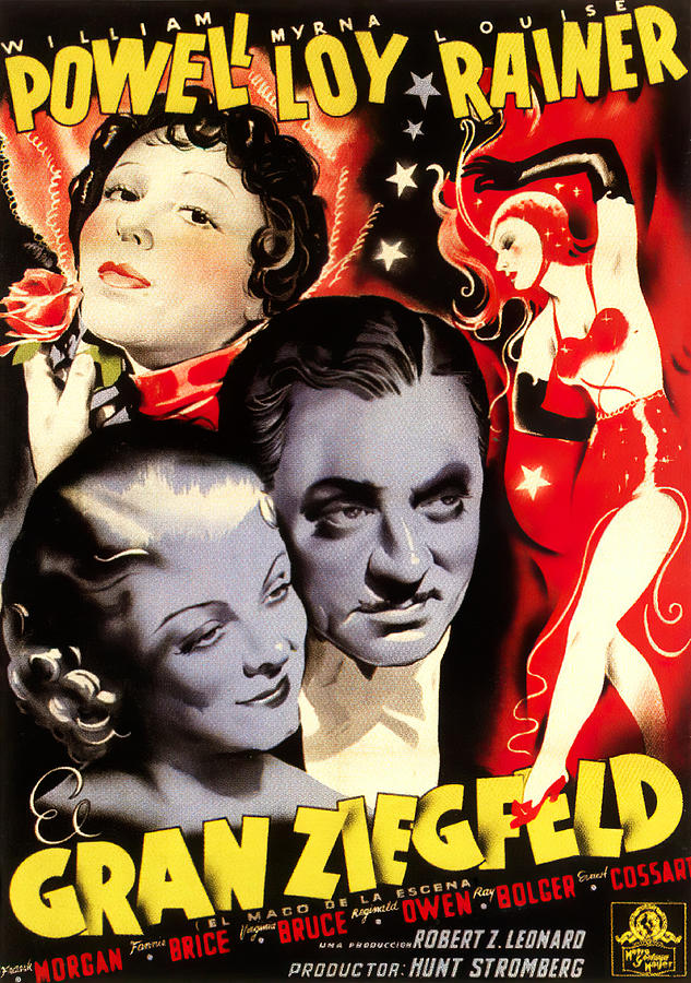 Movie Poster For the Great Ziegfeld, With Luise Rainer And William Powell, 1936 Mixed Media