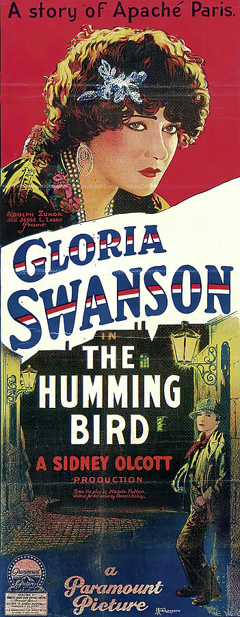 Movie Poster For the Humming Bird, With Gloria Swanson, 1924 Mixed Media