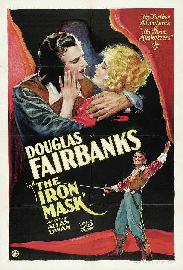 Movie Poster For the Iron Mask, With Douglas Fairbanks, 1929 Mixed Media