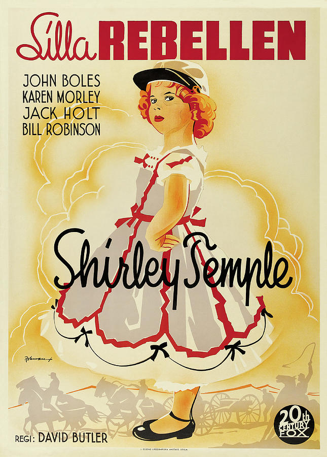 Movie Poster For the Littlest Rebel, With Shirley Temple, 1935 Mixed Media