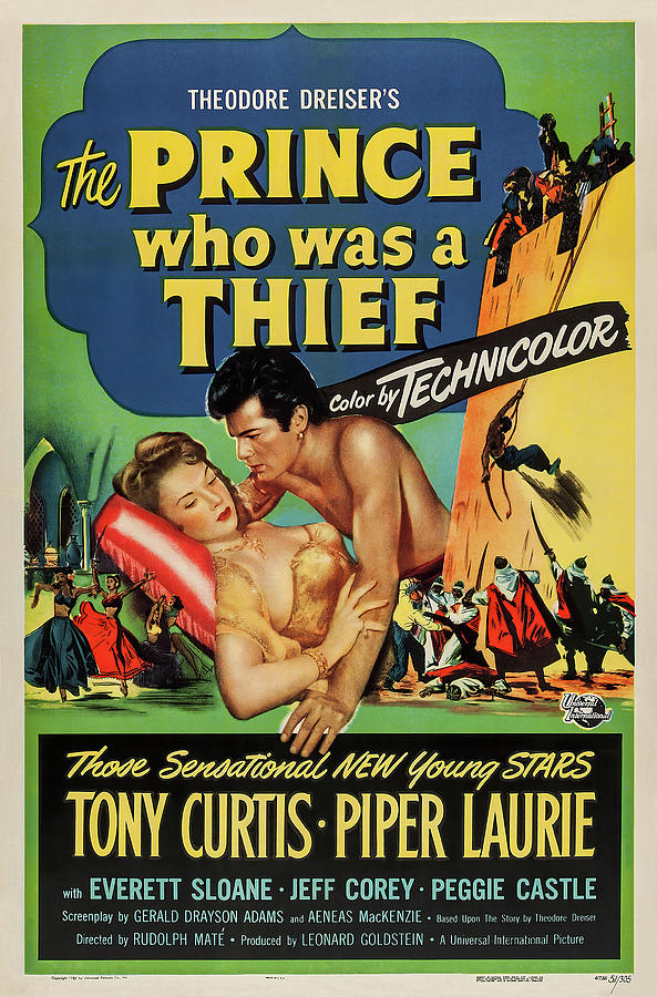 Movie Poster For the Prince Who Was A Thief, With Tony Curtis And Piper Laurie, 1951 Mixed Media