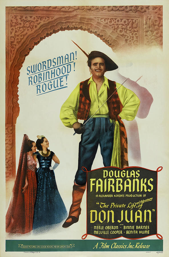 Movie Poster For the Private Life Of Don Juan, With Douglas Fairbanks, 1934 Mixed Media
