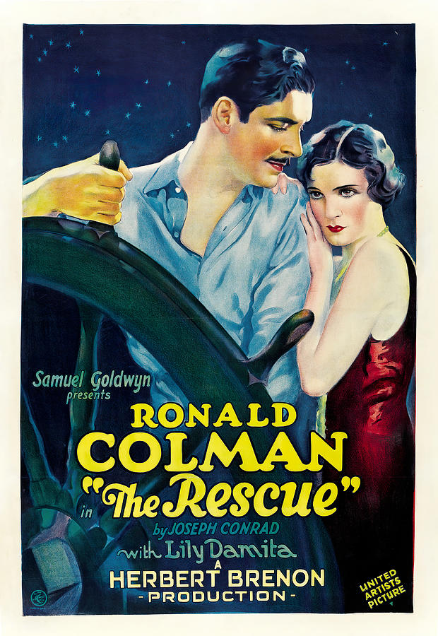 Movie Poster For the Rescue, With Ronald Colman, 1929 Mixed Media