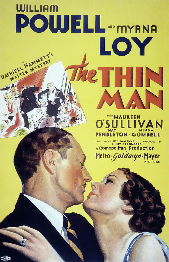 Movie Poster For the Thin Man With William Powell, 1934 Mixed Media
