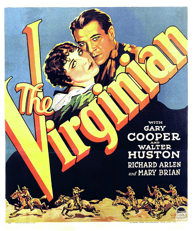 Movie Poster For the Virginian, With Gary Cooper, 1929 Mixed Media