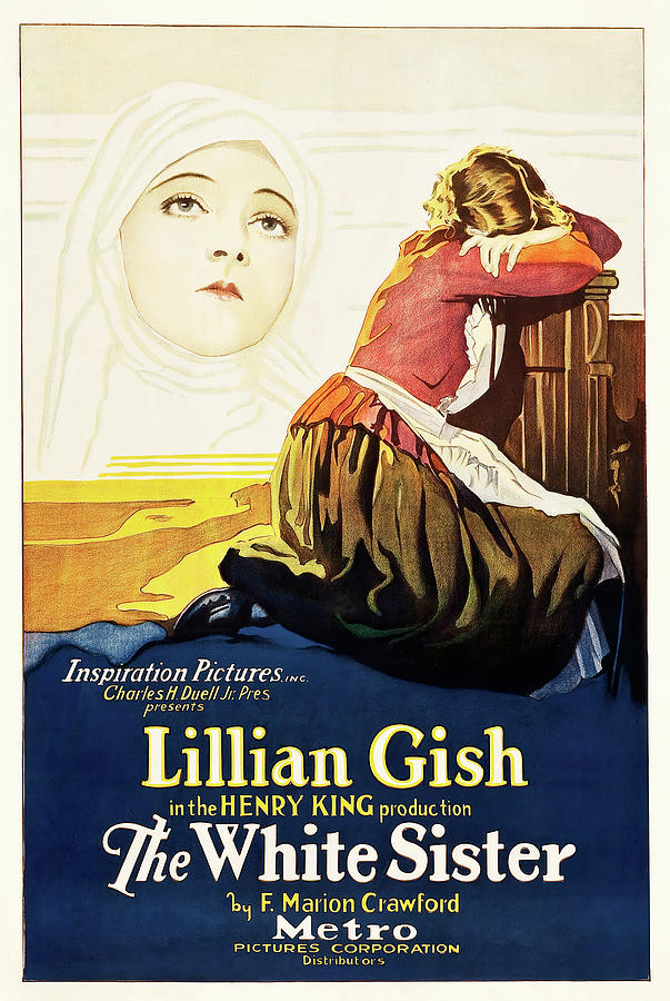 Movie Poster For the White Sister, With Lillian Gish, 1923 Mixed Media
