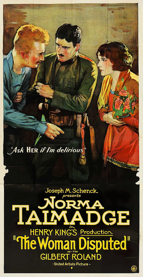 Movie Poster For the Woman Disputed, With Norma Talmadge, 1928 Mixed Media