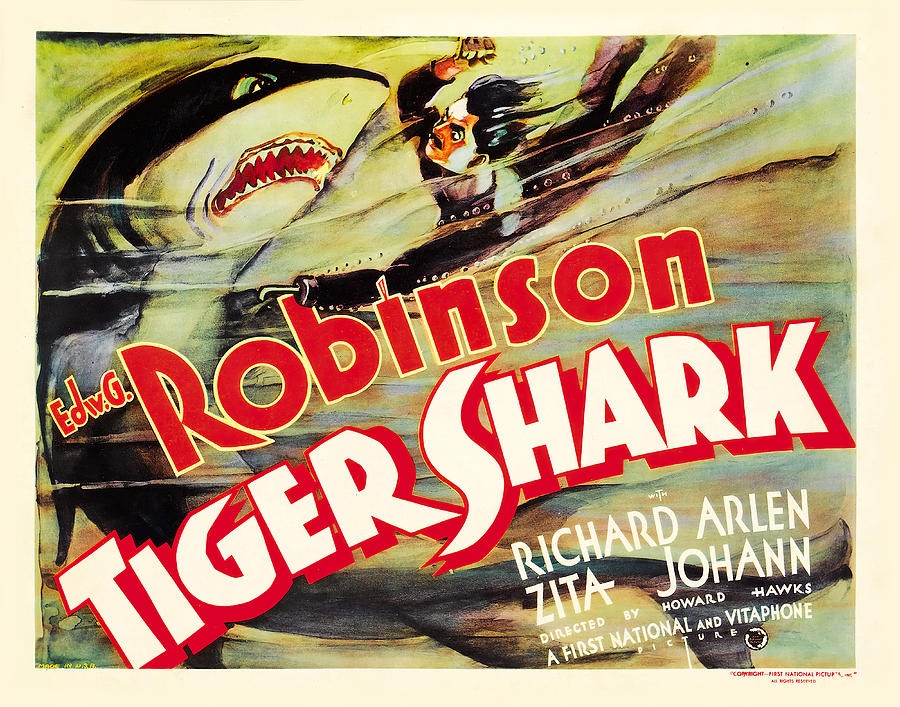 Movie Poster For tiger Shark, With Edward G. Robinson, 1932 Mixed Media