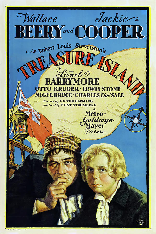 Movie Poster For treasure Island, With Wallace Beery And Jackie Cooper, 1934 Mixed Media