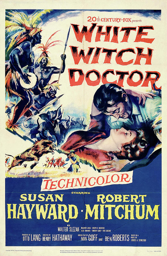 Movie Poster For white Witch Doctor, With Susan Hayward And Robert Mitchum, 1953 Mixed Media