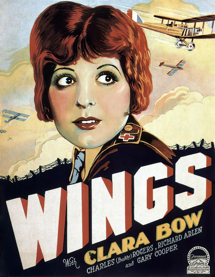 Movie Poster For wings, With Clara Bow And Gary Cooper, 1927 Mixed Media
