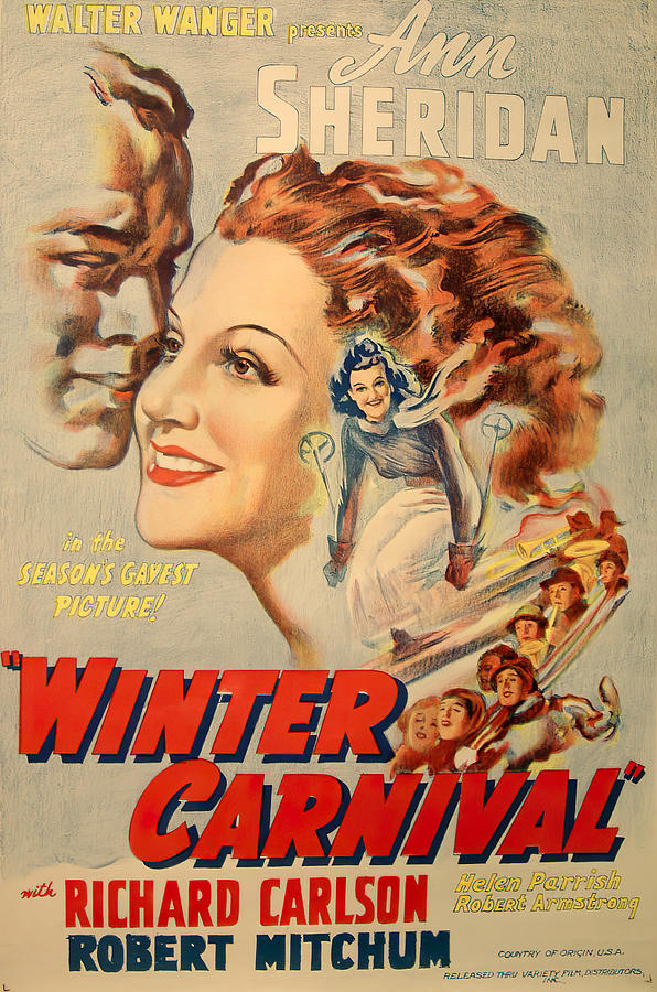 Movie Poster For winter Carnival, With Ann Sheridan, 1939 Mixed Media