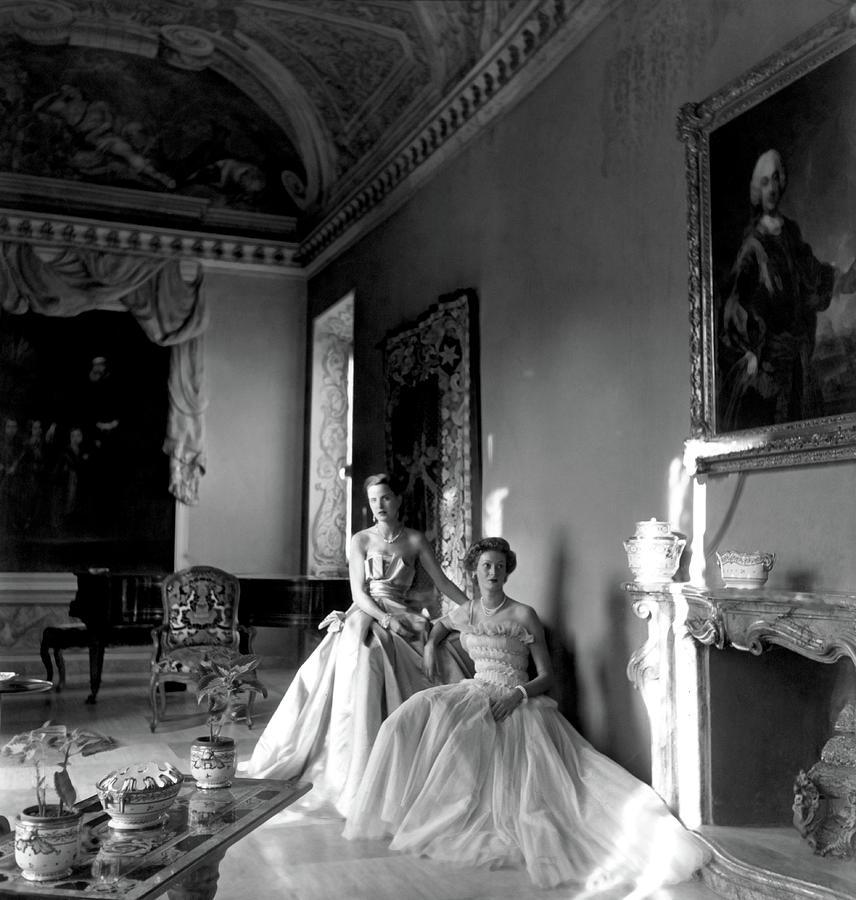 Mrs. Edward Behn and Donna Marella Caracciolo di Castagnetto in Evening Dresses Photograph by Clifford Coffin