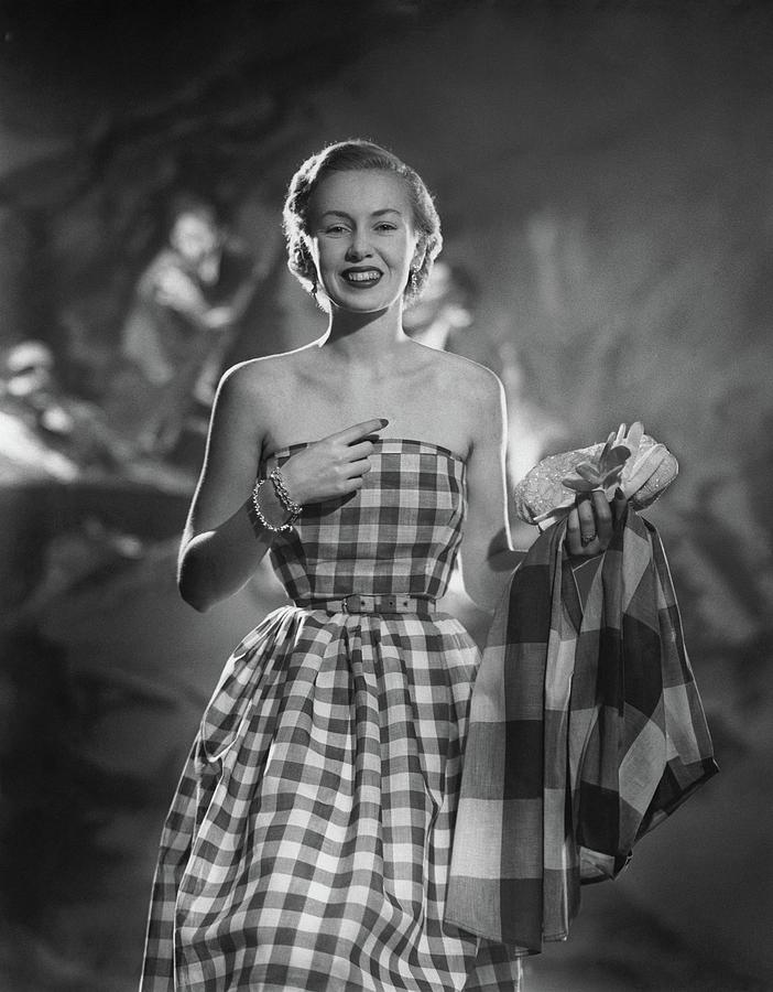 Mrs. William McManus Wearing Gingham-Check Photograph by Ted Croner