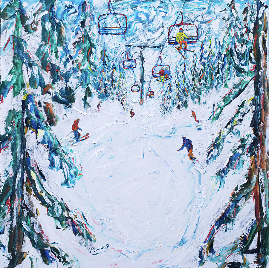 Mt Bachelor Oregon Ski Print Red Chair by Pete Caswell