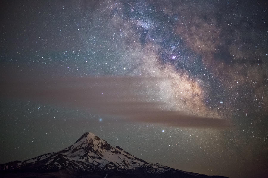 Mt. Hood and the Milky Way at Night Photograph by Tyler Hulett