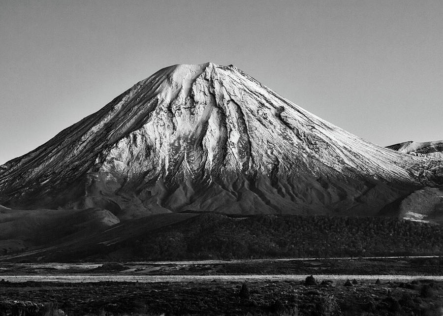 Mt Ngauruhoe Black and White by Nicholas Blackwell