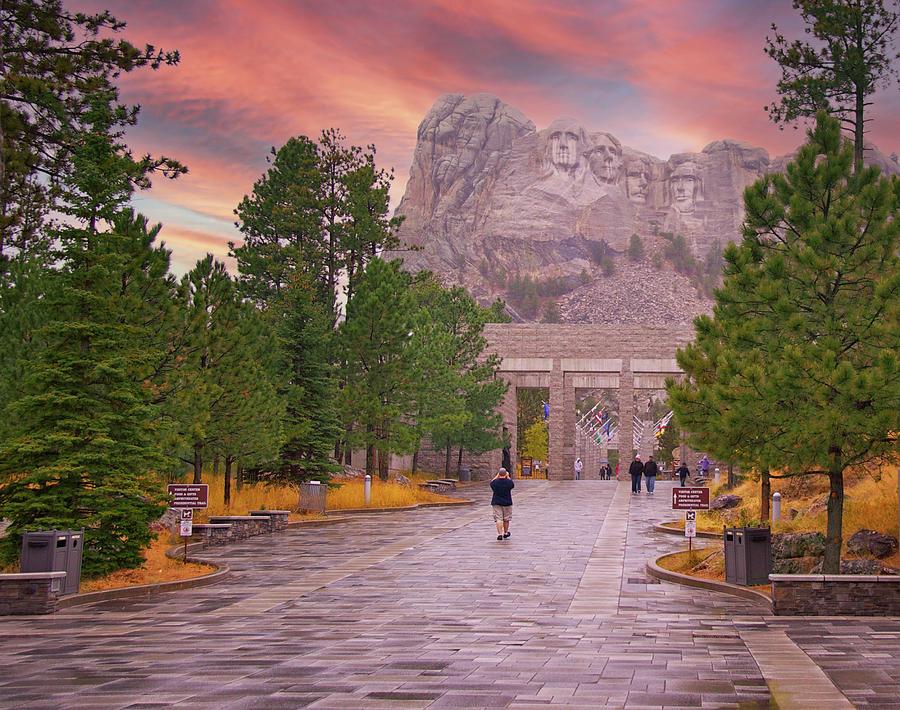 Mt Rushmore At Sunset Photograph