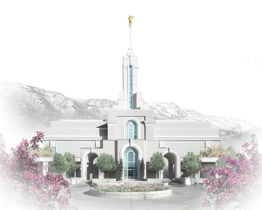 Utah Digital Art - Mt. Timpanogos Temple - Celestial Series by Brent Borup