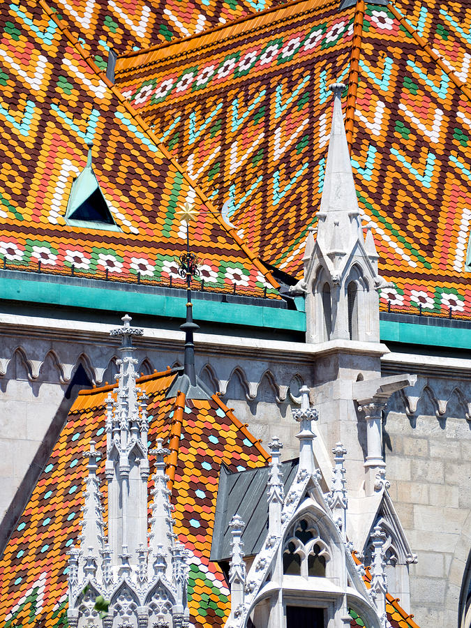 Multi-colored tiled roof of St Matthias Church, Budapest,Hungary Photograph by Andrea Ricordi, Italy