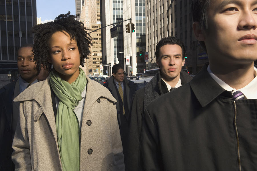 Multi-ethnic businesspeople in urban scene Photograph by PBNJ Productions