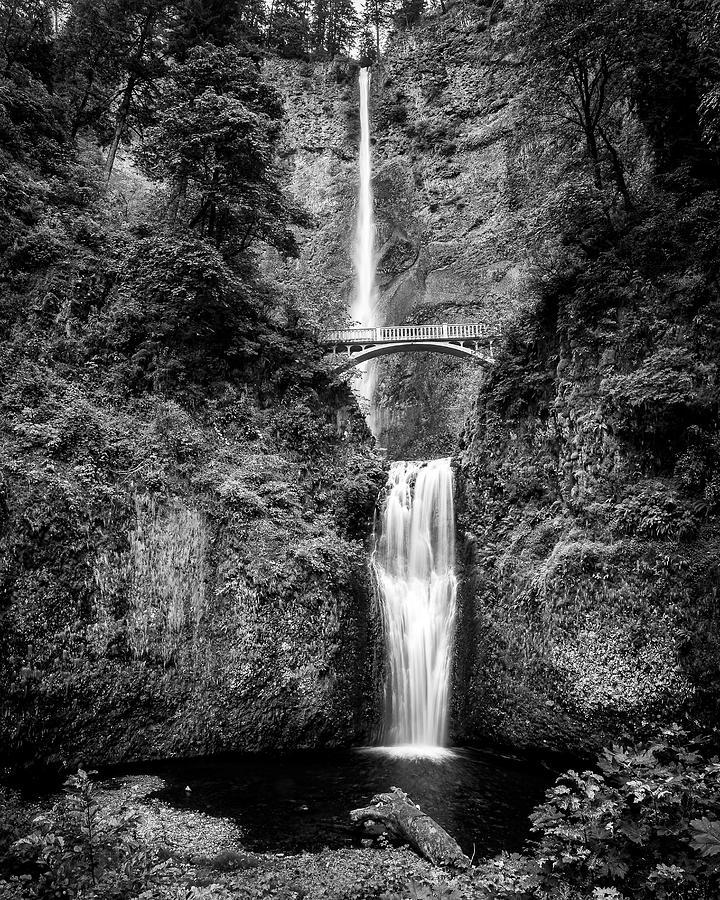 Multnomah Falls Black And White Photograph