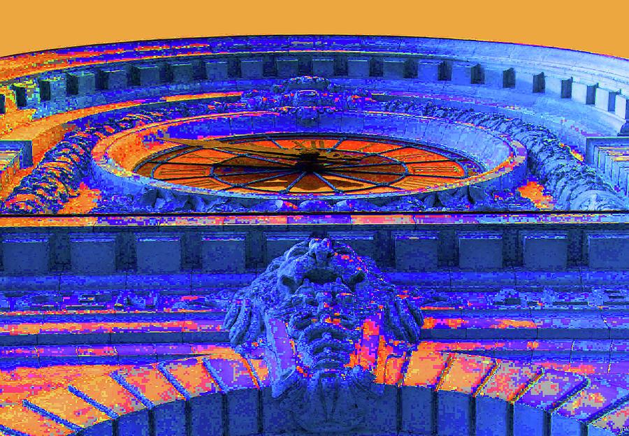 Paris Photograph - Musee Dorsay Clock - Blue Orange by Ron Berezuk