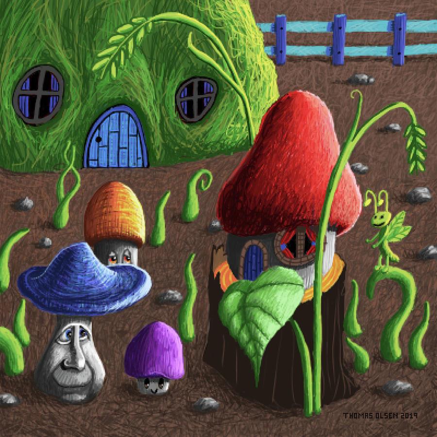 Mushroom house with grasshopper by Thomas Olsen
