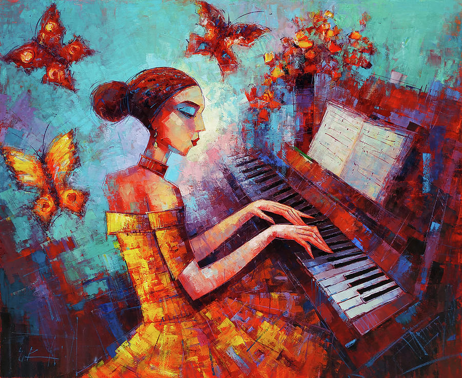 Music Painting - Music And Collors by Narek Qochunc