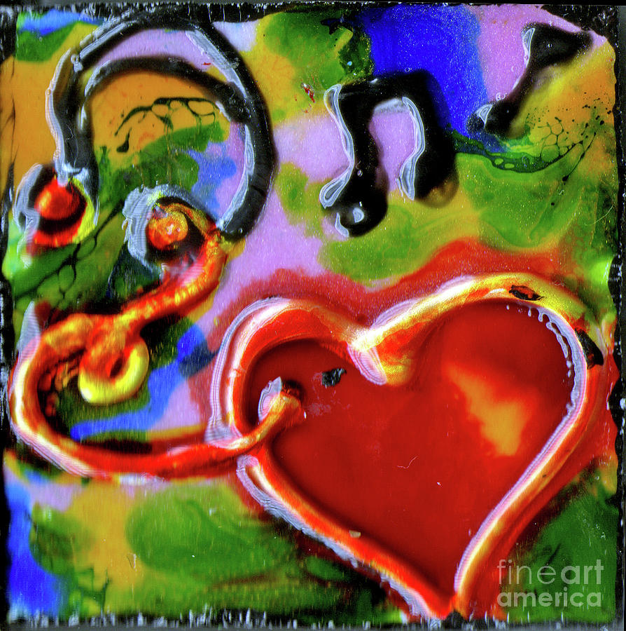 Musical Heart With Ear Buds by Genevieve Esson