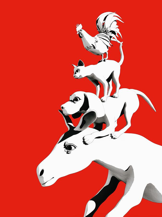 Donkey Digital Art - Musicians of Bremen_red by Heike Remy