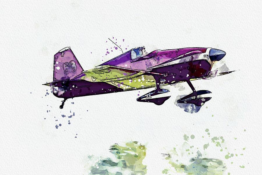 Mustang Aeronautics Midget Mustang Mm- No G-awir War Planes In Watercolor Ca By Ahmet Asar Painting