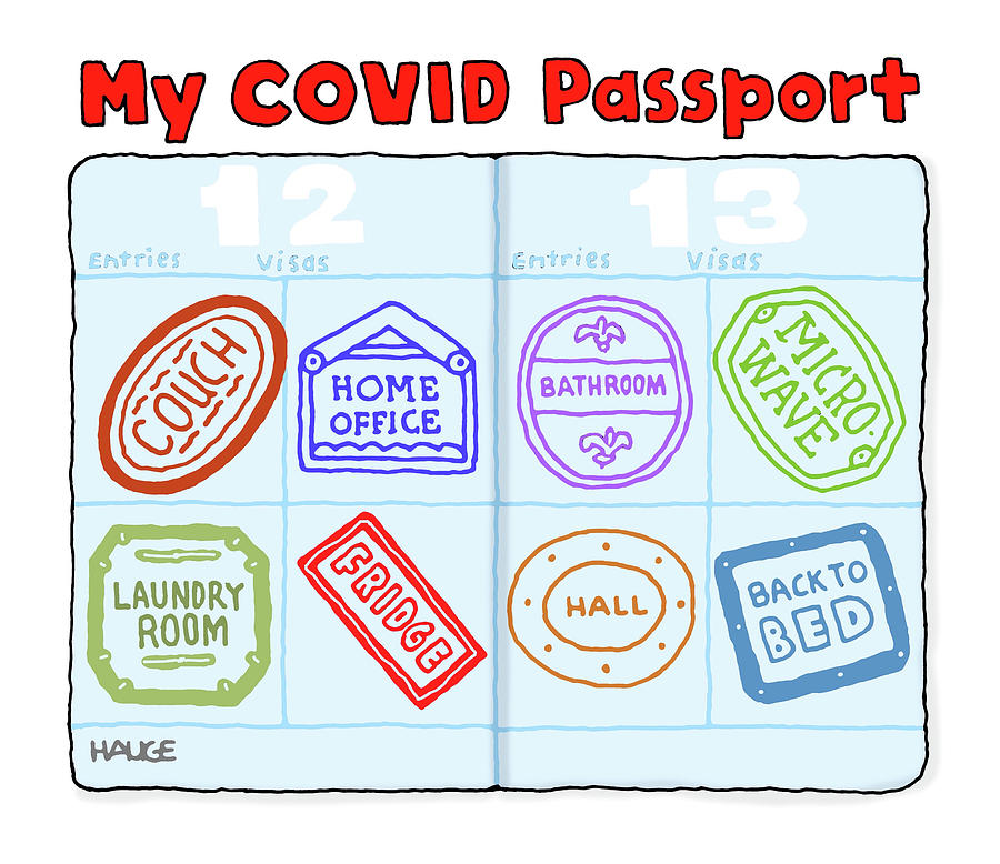 My Covid Passport Drawing by Ron Hauge