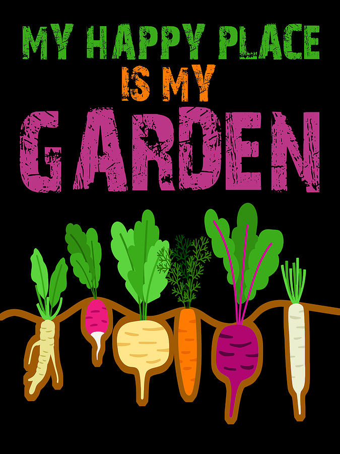 Daisy Painting - My Happy Place Is My Garden Gardener Gift Spring Vegetables by Tony Rubino