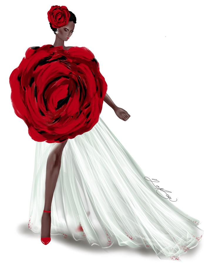 My Interpretation Of Alexander Mcqueen Fall 2019 Red Rose Dress Mixed Media